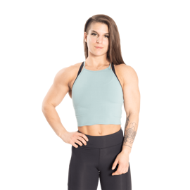Better Bodies Performance Crop Halter Teal Green