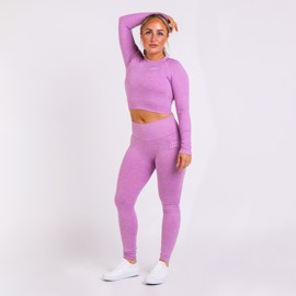 BM Seamless Ribbed High Waist Tights & Seamless Ribbed Long Sleeve Cropped Top Purple