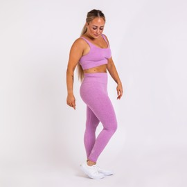 BM Seamless Ribbed High Waist Tights & Seamless Ribbed Sports Bra Purple