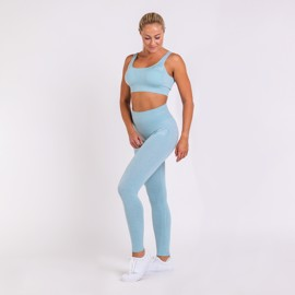 BM Seamless Ribbed High Waist Tights & Seamless Ribbed Sports Bra Sky Blue