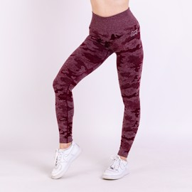 BM Seamless High Waist Tights Wine Red Camo