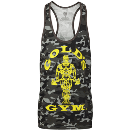 Golds Gym Muscle Joe Slogan Premium Tank Black Camo