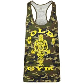 Gold's Gym Muscle Joe Slogan Premium Tank Green Camo
