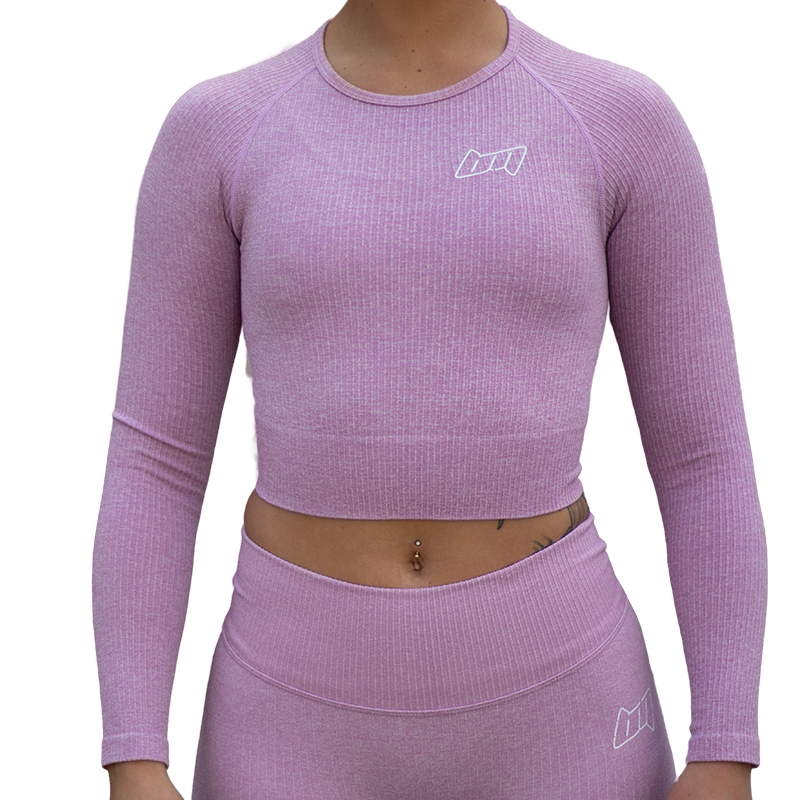 BM Seamless Ribbed Long Sleeve Cropped Top Purple