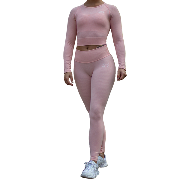 BM Seamless Ribbed High Waist Tights & Seamless Ribbed Long Sleeve Cropped Top Pink