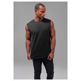Urban Classics Open Edge Sleeveless Tee Charcoal