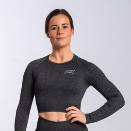 BM Seamless Ribbed Long Sleeve Cropped Top Dark Grey