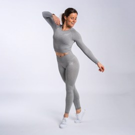 BM Seamless Ribbed Long Sleeve Cropped Top & BM Seamless Ribbed High Waist Tights Light Grey Set