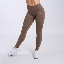 BM Seamless Ribbed High Waist Tights Dark Brown