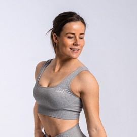 BM Seamless Ribbed Sports Bra Light Grey