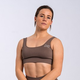 BM Seamless Ribbed Sports Bra Dark Brown